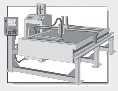 Plasma cutting machine illustration