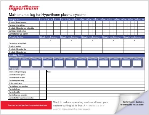Preventive maintenance log for hypertherm plasma systems customers living in canada and the united states can request a free copy of this log to receive it simply complete the form found at thecheapjerseys Choice Image