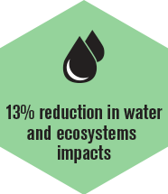 Reduction in water and ecosystems impacts
