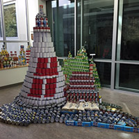 Lighthouse made out of donated perishables