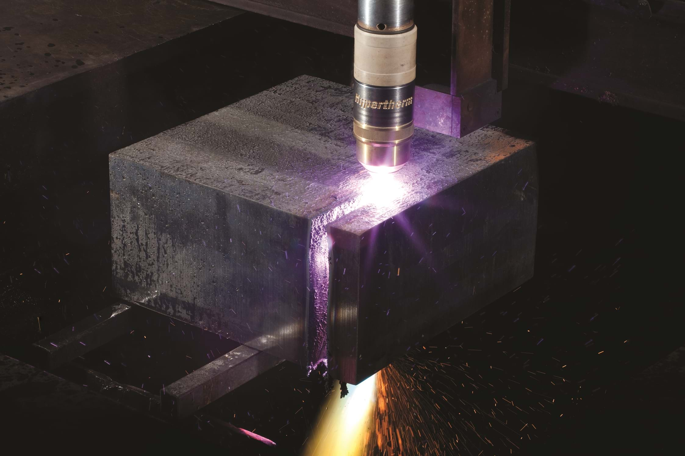 HPR800XD cutting 6 inch mild steel
