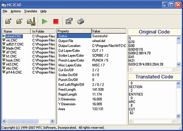 NC2CAD screen